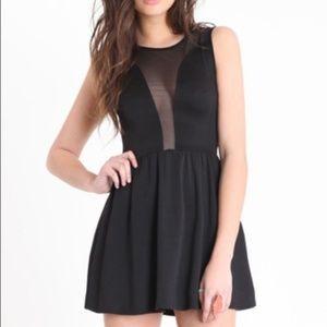For love and lemons black mesh skater casual dress